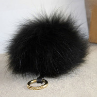 BLACK Luxury bag pendant Raccoon Fur Pom Pom with leather strap metal buckle key ring chain bag charm