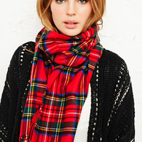 Tartan Scarf in Red at Urban Outfitters