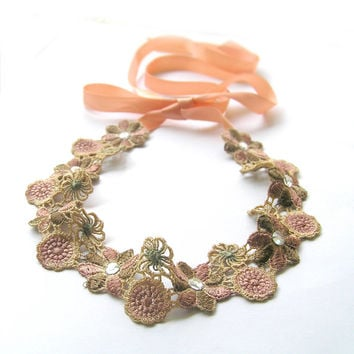 Light Brown Vintage Style Boho Chic Embroidery Flower Lace Headband, Head Tie, with Swarovski Crystal and Peachy Tan Satin Tie Ribbon