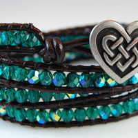 Chan Luu Style Wrap Bracelet - Green AB Fire Polished Crystals - Celtic Heart - Black Leather