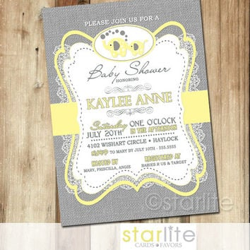 best yellow gray baby shower invitations products on wanelo,