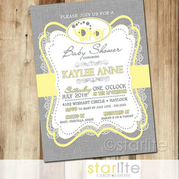 Elephant Baby Shower Invitation - yellow gray burlap lace - 5x7 retro vintage style, typography, unique shower invitation - You Print