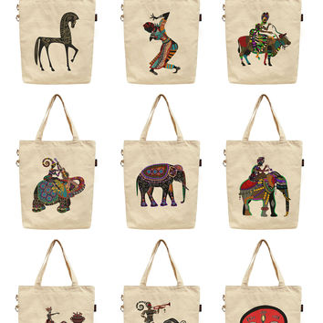 Women Africa Culture Art Printed Canvas Tote Shoulder Bag WAS_40