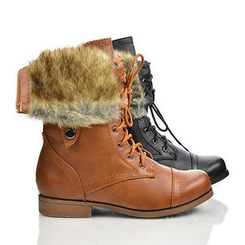 Freda45E Cognac Pu By Bumper, Round Toe Lace Up Faux Fur Lining Fold Over Cuff Military Boots