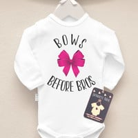 Baby Girl Outfit. Bows Before Bros Baby Girl Bodysuit. Hipster Baby Girl Clothes. Many Colors Available
