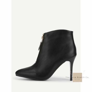 Zipper Front Stiletto Heeled Ankle Boots