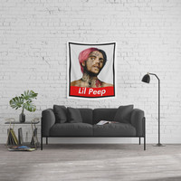 Lil Peep Rapper Box Logo Wall Tapestry by adorablearts