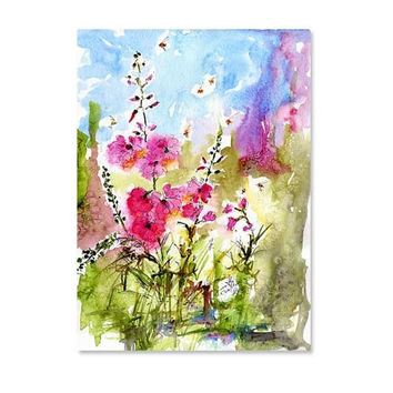 Impressionist Watercolor Floral Botanical Pink Lavatera Floral Wildflowers Garden Botanica ORIGINAL Painting by Ginette