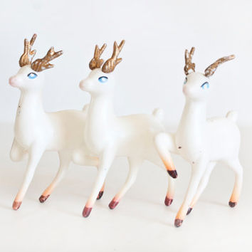 Set of 3 Vintage Plastic Reindeer Figurines, White Deer, Kitsch Holiday Decor for Dioramas