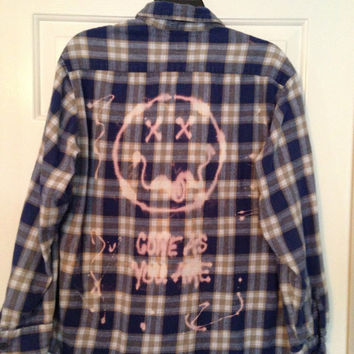 Unisex Plaid flannel shirt bleached with Come As You Are and smiley