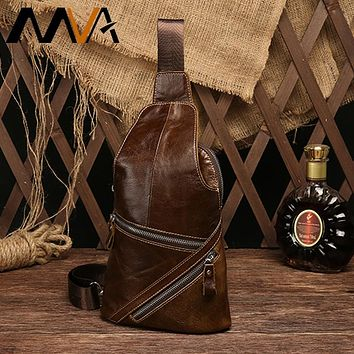 Genuine Leather Chest Bag Male Crossbody Bags For Men Messenger Bag Men Leather Shoulder Sling Man Bags Chest Pack