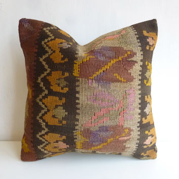 Brown Kilim Pillow Cover with Colorful Ethnic pattern