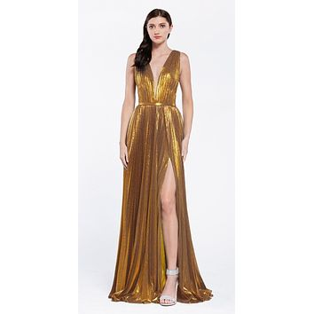 Metallic Pleated Long Prom Dress with Slit Gold