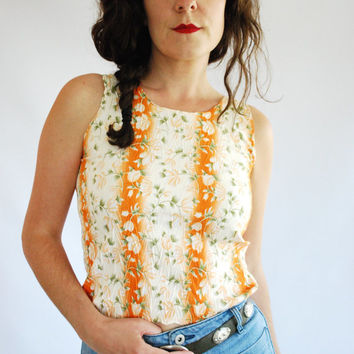 Vintage Floral Tank Top - Orange Crinkle Top - Size XS/S