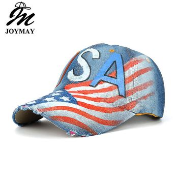 Men's Faded USA Flag Painting Jean Baseball Cap Adjustable