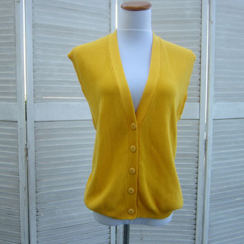 Vintage Yellow Sweater Vest Cotton Knit Vest Bright Yellow Sleeveless Sweater Oversized Womens Large Preppy