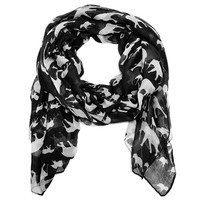 Mama and Baby Elephant Scarf in Black and White