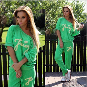 New Fashion Women Sportswear suit sexy v-neck stitching sports Costumes 2 Piece Set tops+pants = 4472621572