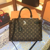 LV Louis Vuitton MONOGRAM LEATHER LOCKME DAY HANDBAG INCLINED SHOULDER BAG