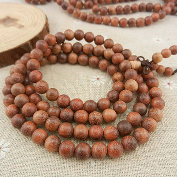 108pcs 8mm Pearwood Beads Rosewood Japa Mala Yogi Bracelet Meditate necklace