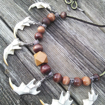 Muskrat Jaw Bone Necklace, Real Animal Bone Jewelry, Boho Tribal Shaman Wiccan Necklace, Gypsy Jewelry, Pagan Occult, Witch goth punk