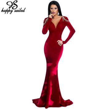 Elegant women clothes Maxi Fishtail Dress party Red Velvet Beading Formal Floor-Length Special Occasion Trumpet  long gown 61271
