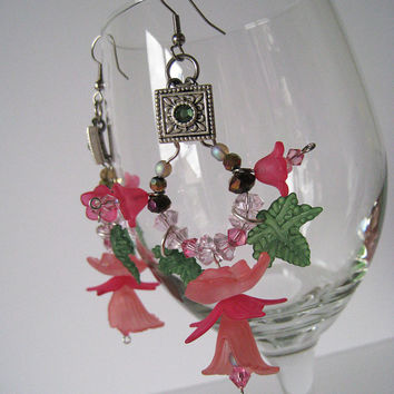 Tropical Pink Floral Chandelier Earrings with Acrylic Components and Swarovski Crystal Beaded Accents with Silver-toned hardware