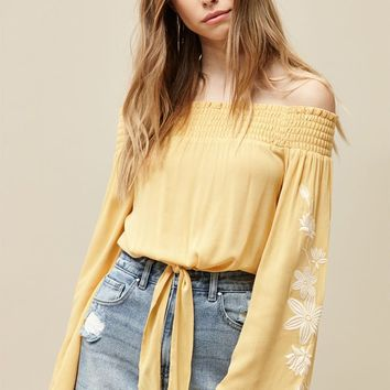 LA Hearts Long Sleeve Embroidered Tie Front Top at PacSun.com
