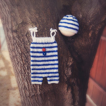 Baby Sailor Set, Nautical Newborn Knit Romper Hat Set, Baby Photo Prop, Knit Baby Romper, Newborn photo outfit, Newborn Mohair Set Outfit