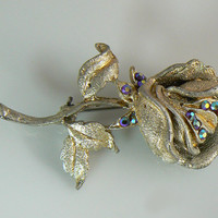 Vintage Ab Rose Brooch