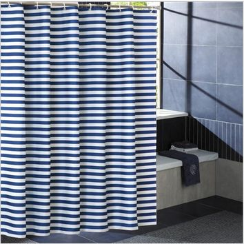 Juyang. Stripe printing shower curtain. Anti - mold polyester shower curtain. Thickened waterproof curtains.