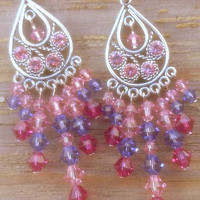 "Swarovski Chandelier earrings. ""Mixed berry"". Light rose pink earrings. Tanzanite earrings.Drop earrings. Dangle earrings. Handmade."