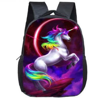 Toddler Backpack class 12 Inch Unicorn Children School Bags Cartoon Rainbow Horse Kids Kindergarten  Boy Girl Daily Party Gift AT_50_3