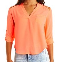 Strappy Shoulder Cut-Out Chiffon Top by Charlotte Russe - Neon Coral