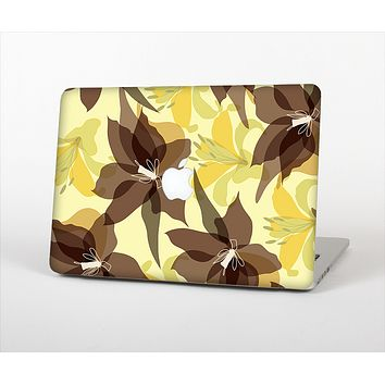 The Yellow and Brown Pastel Flowers Skin Set for the Apple MacBook Air 13""
