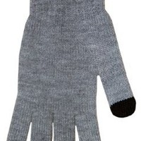 Boss Tech Products Knit Touchscreen Gloves with Conductive Fingertips for Use with All Touchscreen Electronic Devices- Gray