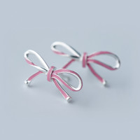 Sweet big bow 925 Sterling Silver Earrings, three colors, a perfect gift
