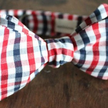 Red White and Blue Checkered Bow Tie Handmade by Lord Wallington