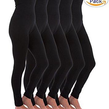 Homma 5 Pack High Waist Fleece Lined Thick Tummy-Compression Brushed Leggings