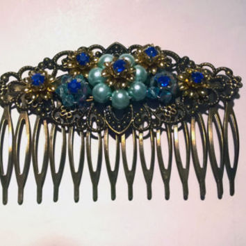 Vintage hair comb Something Blue Womens Gift Blue hair comb bridal comb blue wedding comb gold hair comb swarovski hair comb rhinestone hair