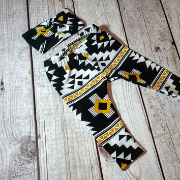 Black Tribal Turban Headband & Legging Set