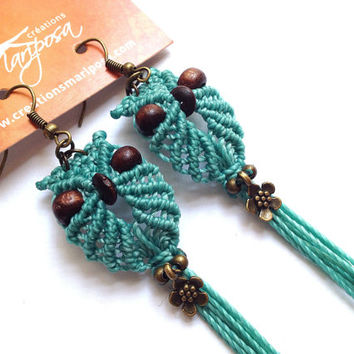 Extra long macrame owl earrings turquoise flower boho bohemian hippie chic gypsy woodland elf knotted micromacrame