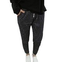 Plus size autumn Korean style women slim plaid harem pants mid waist drawstring pocket pants loose casual full length pants