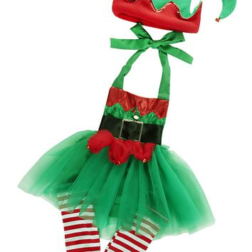 Girl Autumn Suit Novelty Costume Baby Christmas Clothing Sets Girl Tulle Romper Leg Warmers Hat Christmas 3pcs Set Costume