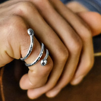 FATHER'S DAY: Pure Silver Male Jewelry Men's Coil Spiral Ring
