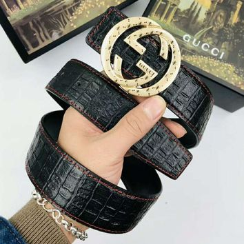 GUCCI Fashionable Men Woman Chic Smooth Buckle Leather Belt