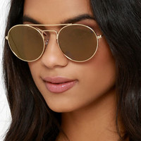 One for the Books Gold and Brown Sunglasses