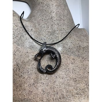 Vintage Handmade Silver Stainless Steel Gothic Celtic Dragon Pendant Necklace