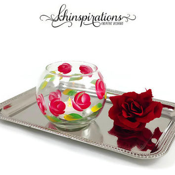 Red Roses Tealight Votives, Hand Painted Candle Holders