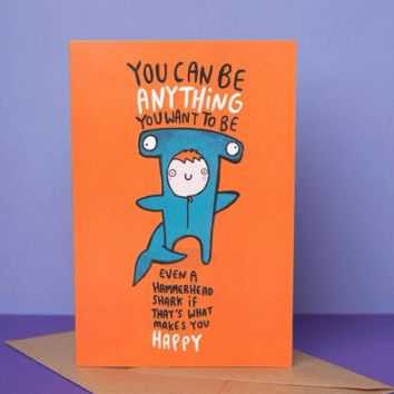 Anything You Want To Be Even A Hammerhead Shark Funny Happy Graduation Greeting Card FREE SHIPPING